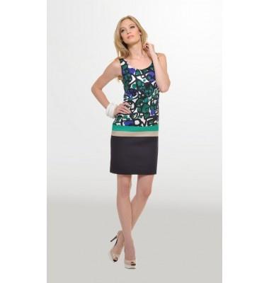 Βαμβακερό φόρεμα σε στενή γραμμή, 1-303065  prints dress green black women's fashion