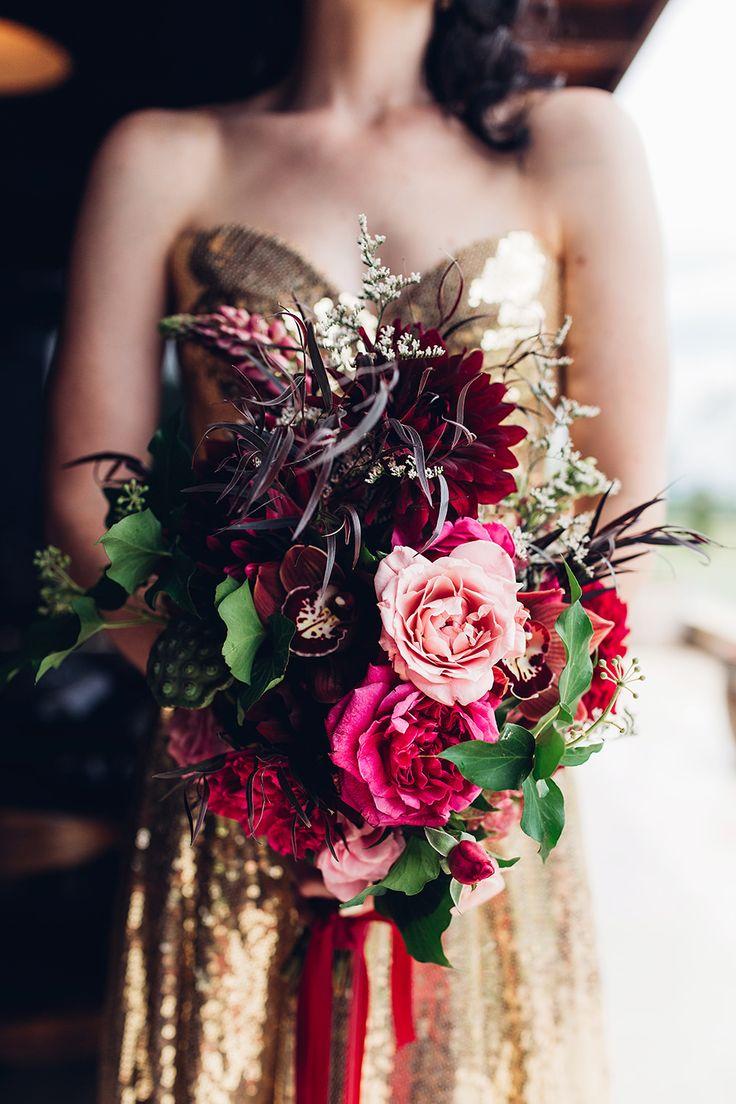 Deep Berry Toned Bouquet | Elegant Metallic Gold & Red Wedding Inspiration | Rockstars and Royalty Dresses | Peony N' Pearl Florist | Swish Vintage Canberra | Miss Gen Photography | http://www.rockmywedding.co.uk/elegant-metallic-gold-red-wedding-inspiration/