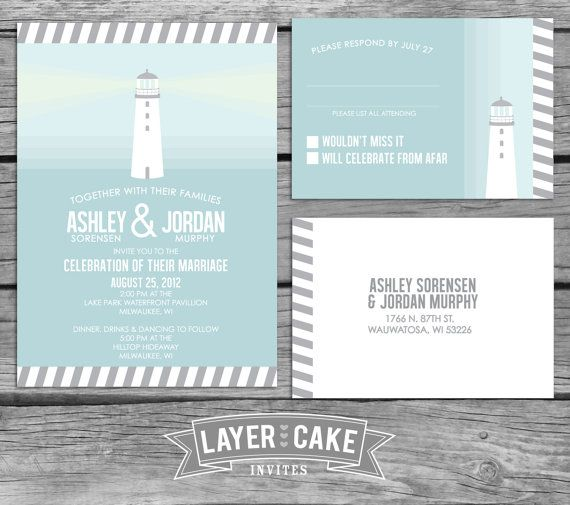 Serene Lighthouse Wedding Invitation Set by LayerCakeInvites, $4.00