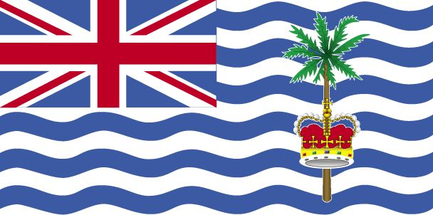 British Indian Ocean Territory Flag~The BIOT flag was officially adopted on in 1990.           The blue and white wavy lines represent the waters of the Indian Ocean, and the palm recalls the natural vegetation on the islands. The crown is indictative of it being a British possession