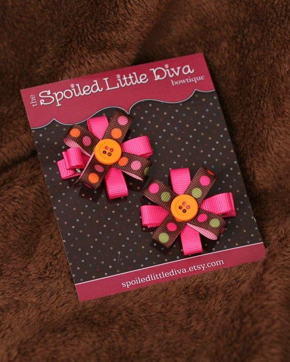 Girls Hair Clips Small Hair Bows for Girls by SpoiledLittleDiva, $4.00