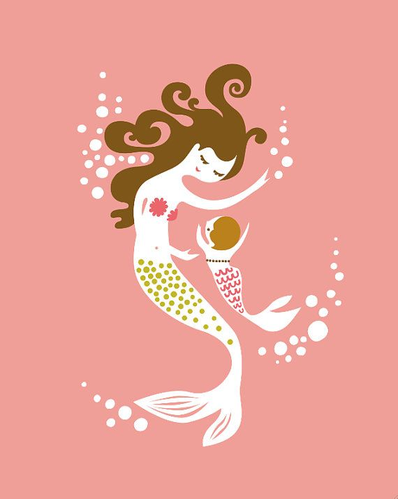 """mermaid mother & child. coral/pink/olive. 8X10"""" giclee art print on fine art paper. mothers day gift."""
