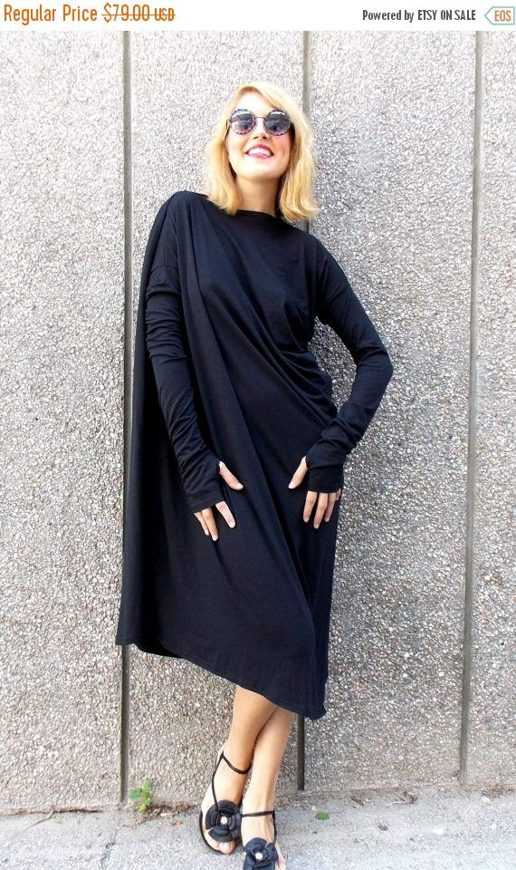 SUN SALE 25% OFF Black Maxi Dress / Asymmetric Plus Size Black Dress / Black Kaftan / Long Sleeves Black Dress / Oversize Loose Black Dress