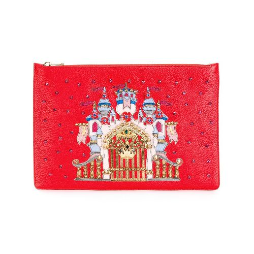 Red leather castle patch clutch from Dolce & Gabbana featuring a top zip fastening, a gold-tone logo plaque, crystal embellishments, a gold-tone stud detailing and a purple stud detailing. Size: OS. Color: Red. Gender: Female. Material: Leather/glass/metal.