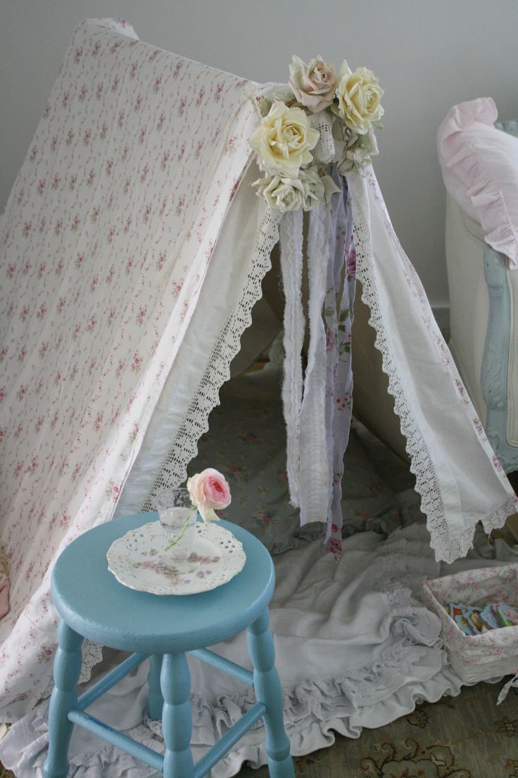 My homemade shabby chic tent for my daycare kids.