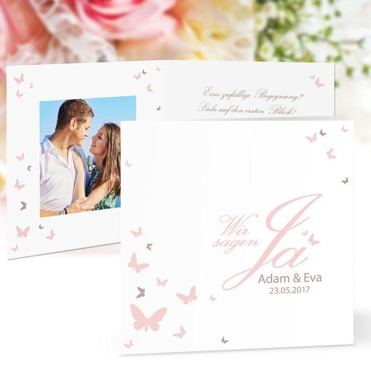 Hochzeitseinladung Schmetterling JA rosé