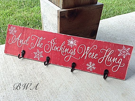 Stocking holder, christmas stocking holder, the stockings were hung, rustic christmas decor, christmas wall hanging,