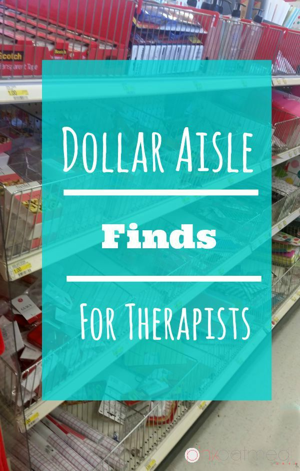 Dollar Aisle Finds For Therapists.  Great ideas for physical therapists, occupational therapists, or even speech therapists.
