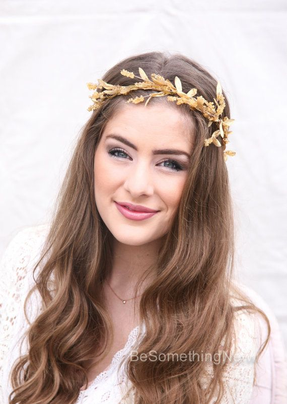 Gold Bohemian Wedding Wreath bridal Crown Headpiece of Golden Leaves and Sparkle Gold Flower Crown Headband Boho Wedding