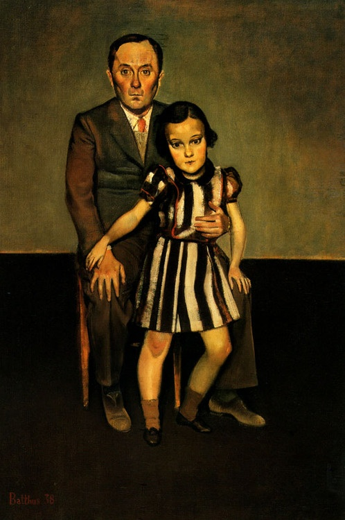 Joan Miro and his Daughter Dolores by Balthus (1908 - 2001) Balthasar Klossowski de Rola, aka Balthus: esteemed but controversial Polish-French modern artist. Throughout his career, Balthus rejected the usual conventions of the art world. http://alongtimealone.tumblr.com/page/21