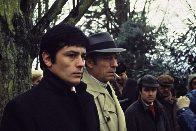 On the set of Melville's Le Cercle Rouge; Alain Delon with Yves Montand.