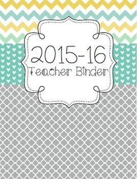 Version:  2015-16 School YearThis file includes:   2015-16 Teacher Binder: Style 1   2015-16 Teacher Binder: Style 2 This teacher binder set includes the following:  binder covers and spine labels (with and without dates), binder tabs, Parent Communication Log, Professional Development Log, Meeting Notes form, Logins/Passwords form, Websites to Remember form, Notes form, Student Birthdays form, August 2015-July 2016 Teacher Calendar, student information binder cover, gradebook form, and…