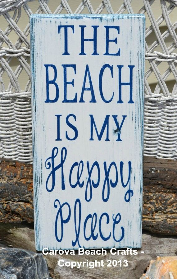 The Beach Is My Happy Place, Beach Decor, Wood Sign, Hand Painted, Distressed, White and Navy Blue, Beach Wood Sign, Coastal, Nautical