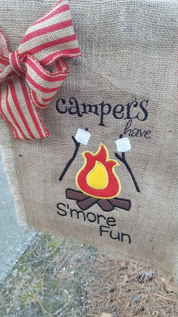 Camping Flag, RV Life Flag, Burlap Garden Flag, S'more Fun Flag, Campfire Flag, Campsite Flag, Flag for Camper, Hostess Gift, Campers Flag