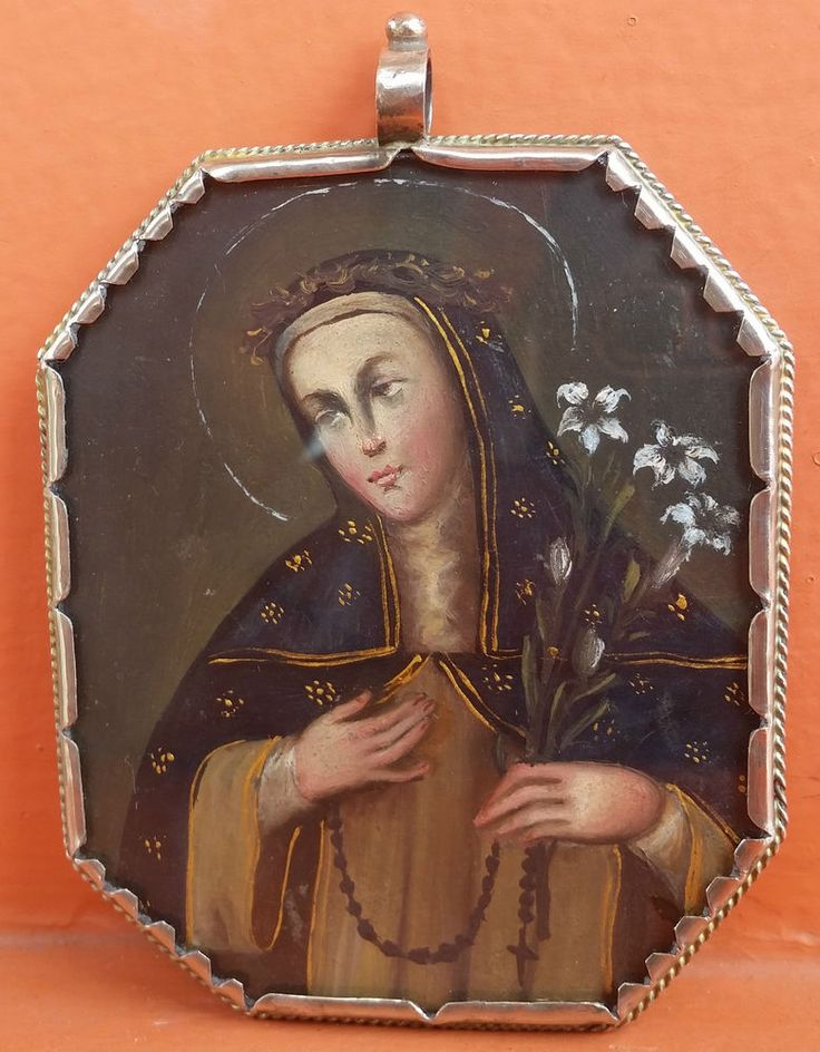 Antique Holy Reliquary Silver S.Rose of Lima / S. Michael Archangel Painting1840
