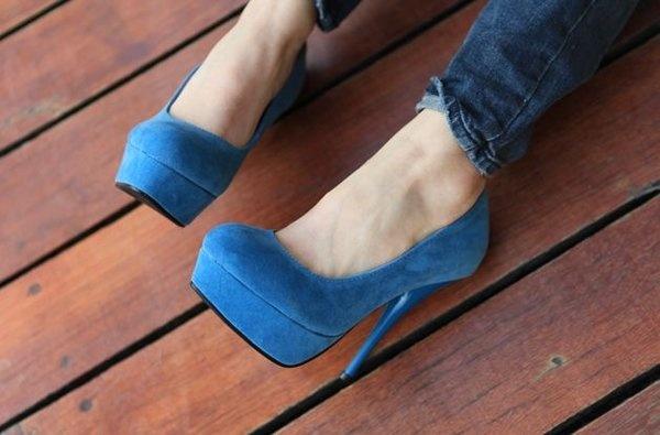 Blue Seude Stilettos