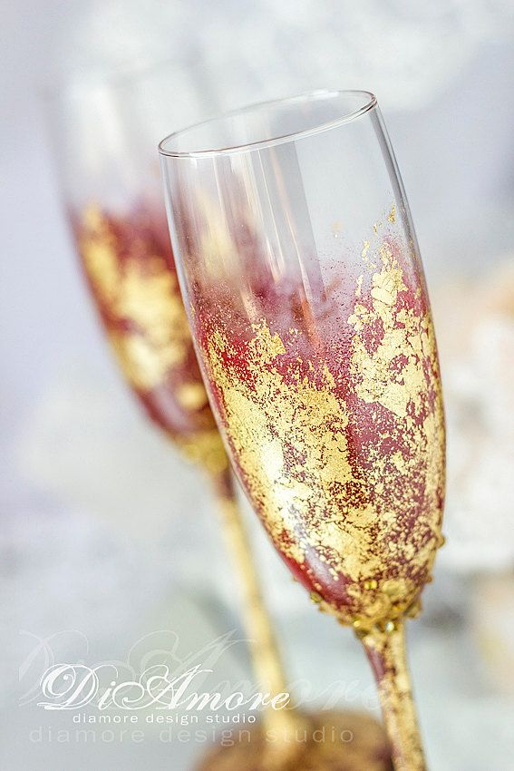 Marsala and gold  wedding champagne glasses, collection Art Deco, bride and groom flutes, wedding gift ideas, wedding supplies 2pcs