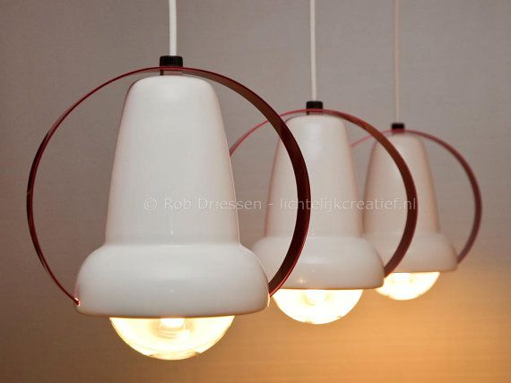 Set of 3, redesign vintage lamp, model 7529 #vintage #redesign #madeinholland #ceilinglamp #dutchdesign #charlotteperriand #infraphil #hanglamp