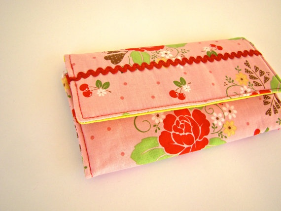 Women Trifold Wallet in a Pink Cherry Floral Print by SofiAlgarvia, €25.00