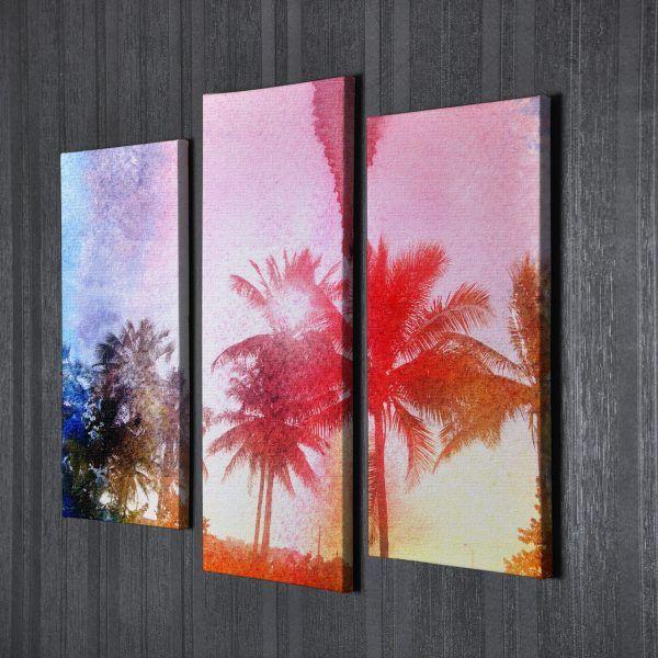 Модульная картина абстракция пальмы   Магазин модульных картин
