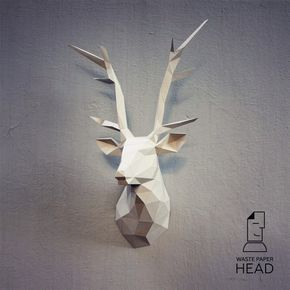 You can make your own deer head for wall decoration!  Printable DIY template (PDF) contains 13 pages. Use 160-240 g/m2 colored paper. Sizes of the head - 70 cm (A4) or 100 cm (A3). I would rather recommend using A3. If you need another size of finished sculpture, just change print scale and size of paper.  Check out our tutorials on youtube.com/channel/UCTO0rWB3sQv161fWv0yG79Q. More photos on www.behance.net/alisa_slonishyna and instagram.com/explore/tags/wastepaperhead.  Please, dont share…