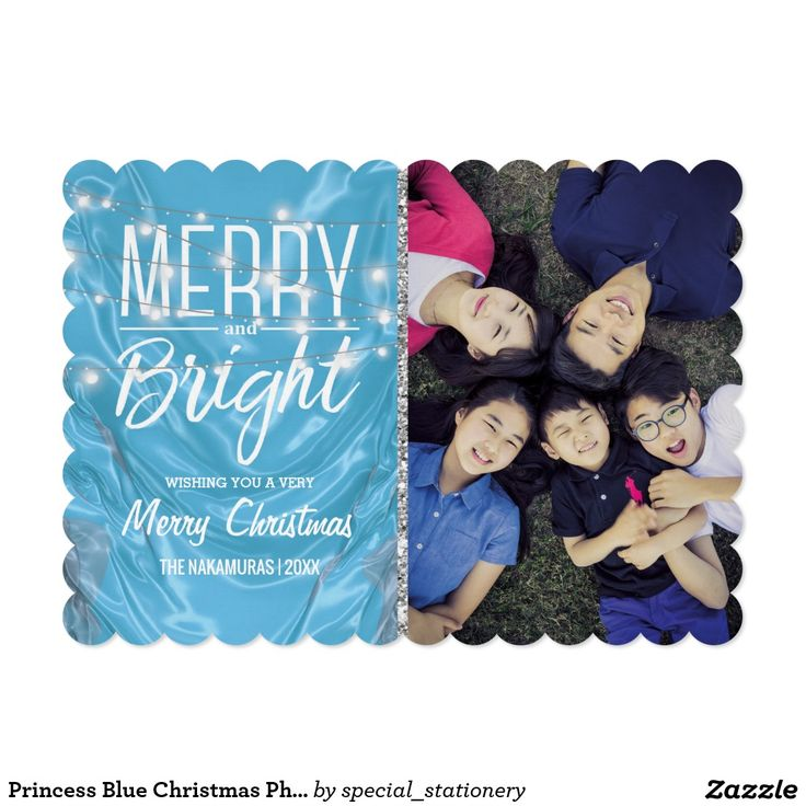 Princess Blue Christmas Photo | Frozen Film Coloured Holiday Cards