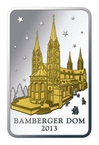 Weihnachtsbarren Bamberger Dom   Anlässig der 1000-jahr-feier des berühmten Bamberger Doms gibt es ihn jetzt als 24-Karat Feingoldapplikation auf einem hochwertigen Barren.   Verschenken Sie doch mal etwas außergewöhnliches an Ihre Lieben und oder machen Sie sich einfach selbst eine Freude.  (42 mm x 26,5 mm)