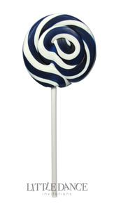 Large 8cm diameter Navy Blue swirl lollipops for kids birthday parties, weddings, christenings and corporate events. For sale online in Australia – Australian website. Gluten, nut and dairy free.