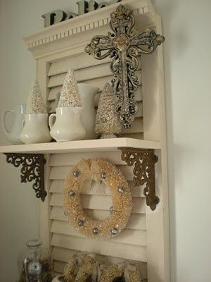 Take an old shutter, add some shelves, and ...