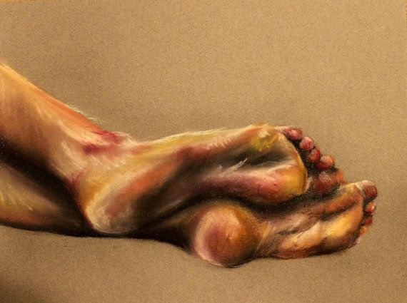 Original Feet Drawing- Chalk Pastel EmilyRyan, Philadelphia