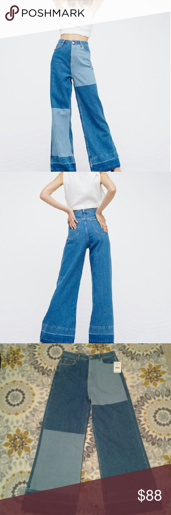 Free People Wide leg patchwork jeans NWT SZ 31. Blue. The fraying at the hems is intended. Higher waist. Free People Jeans Flare & Wide Leg