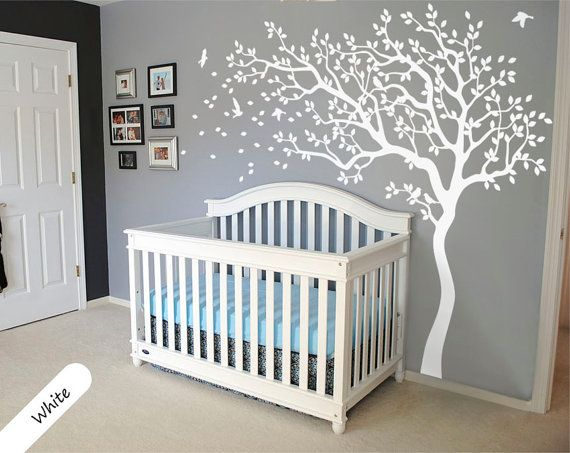 White Tree Wall Decal Huge Tree wall decal Wall Mural Stickers Nursery Tree and Birds Wall Art Tattoo Nature Wall Decals Decor  - 047