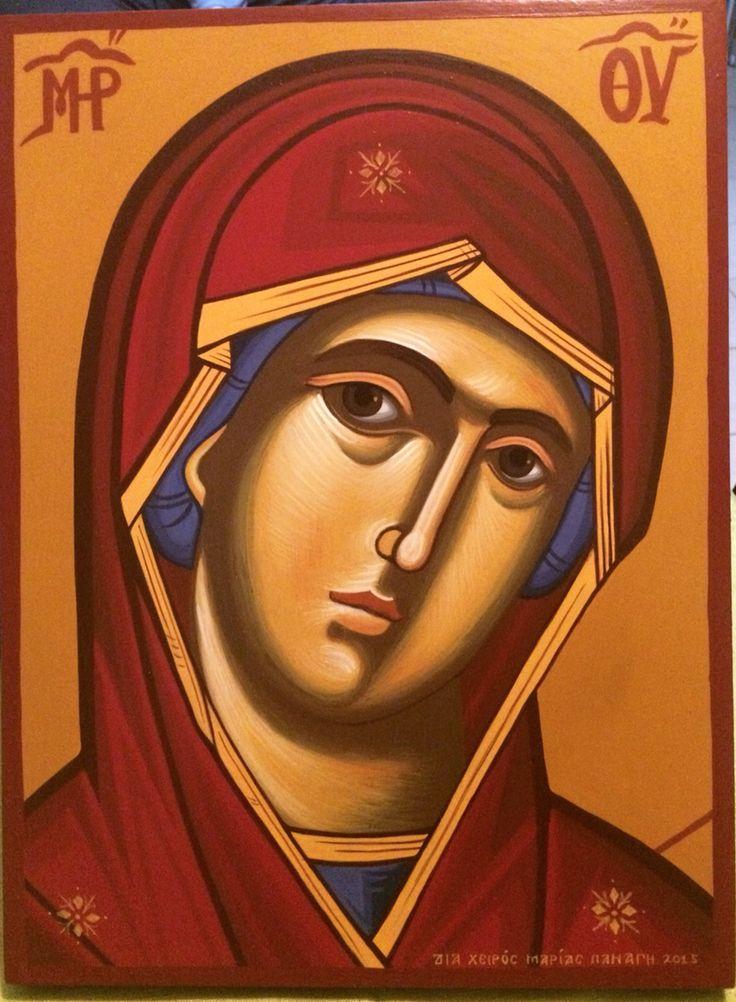 Παναγία 30x40cm Αγιογραφία σε ξύλο Διά χειρός Μαρίας Παναγή