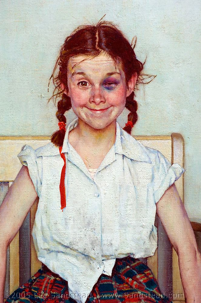 """Rockwell, Norman """"The Young Lady with a Shiner"""" 1953 [Rockwell also painted Ruby Bridges on her first day of school]"""