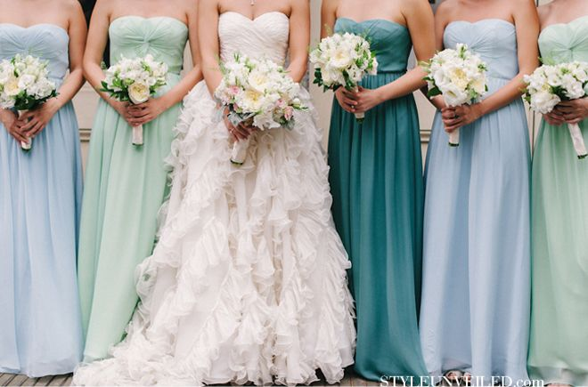 Love the idea of having bridesmaids wearing different shades of a color for a wedding #COTM