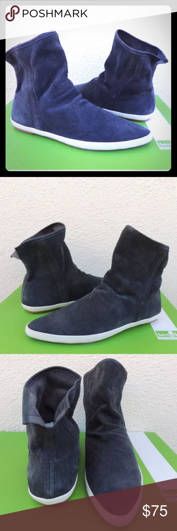 Sanuk Kat sphynx  lux suede slip on boot RARE sold out Kat sphynx Lux charcoal grey slip on boot pointed toe rubber sole new with box never worn org price $100 Sanuk Shoes Ankle Boots & Booties
