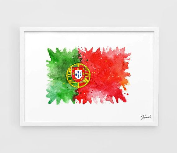Portugal Flag UEFA Euro 2016 - A3 Wall Art Print Poster of the Original Watercolor Painting Football Poster Soccer Poster home decor gifts
