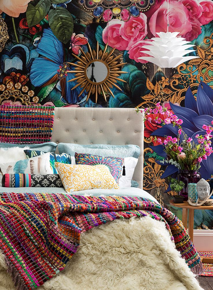 #Color, color y más color. Eso es #Boho <3 #DecoBazar #Dormitorio #Texturas #Estampados #Homy