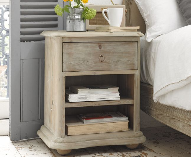 Our lovely French farmhouse style Avril bedside table is hand carved from weathered fir boasting gorgeous curves. It also works nicely as a side table.