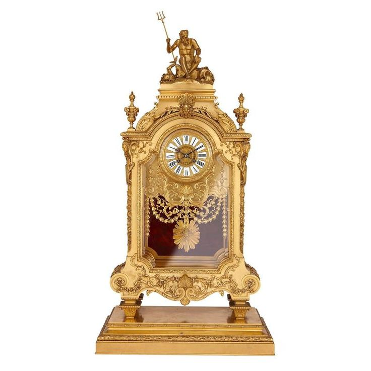 Large French Antique Ormolu Mantel Clock by Ferdinand Barbedienne   From a unique collection of antique and modern mantel-clocks at https://www.1stdibs.com/furniture/decorative-objects/clocks/mantel-clocks/