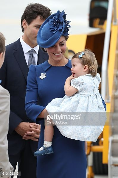 Catherine Duchess of Cambridge and Princess Charlotte of Cambridge arrive at the Victoria Airport on September 24 2016 in Victoria Canada Prince...