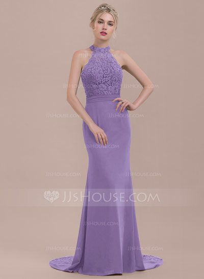 Trumpet Mermaid High Neck Sweep Train Chiffon Lace Bridesmaid Dress