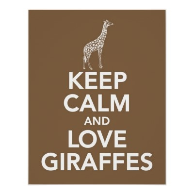 Keep Calm and Love Giraffes print poster