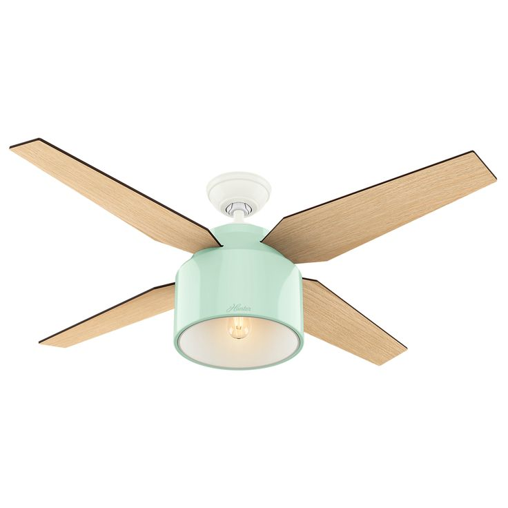 Hunter Cranbrook 52-in Mint Green Downrod Mount Indoor Ceiling Fan with Light Kit and Remote (4-Blade)