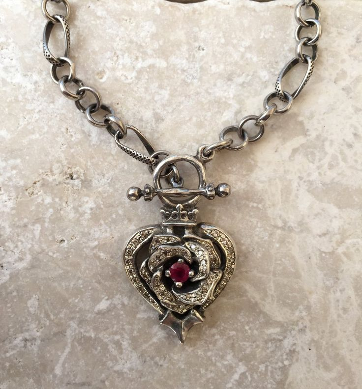 Diamonds and Ruby Rose Heart by Roman Paul