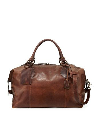 Logan+Men\'s+Leather+Overnight+Bag,+Dark+Brown+by+Frye+at+Neiman+Marcus.