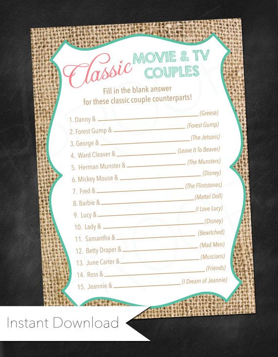Famous Couples Bridal Shower Game Instant by AestheticJourneys