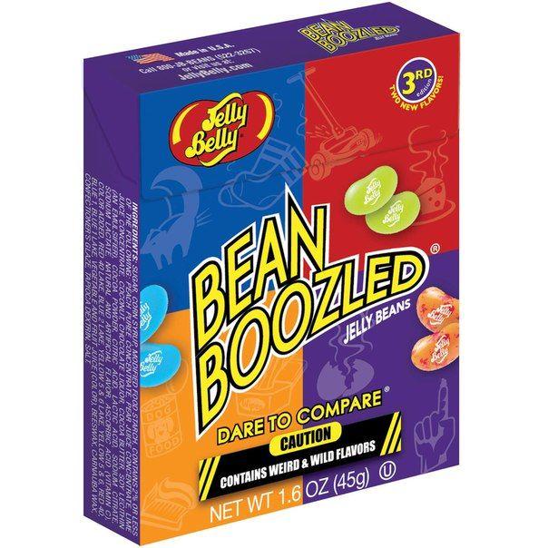 Bean Boozeled от Jelly Belly из США уже у нас!!! || ChocoShop.com.ua Вес упаковки - 45 г Цена на сайте ChocoShop.com.ua Любимые конфеты из фильма о Гарри Поттере. Вкусы в коробочке:  вонючие носки — тутти-фрутти;  сорняки — лайм; тухлые яйца — попкорн с маслом;  зубная паста — черника; рвота — персик; корм для собак — шоколадный пудинг; сопли — груша;  заплесневелый сыр — попкорн с карамелью; памперсы — кокос;  запах скунса — ликёр.  Для приготовления бобов используют только пищевые…