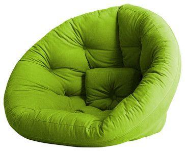Nest Convertible Futon Chair/Bed, Lime Mattress contemporary-sleeper-chairs