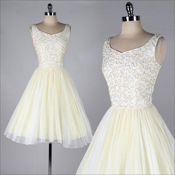 Vintage 1960s Party Dress Iridescent Sequin Bodice